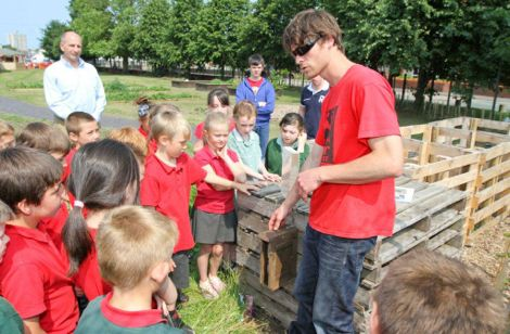 Iwan Edwards North Wales Wildlife Trust teaching school children the value of bees