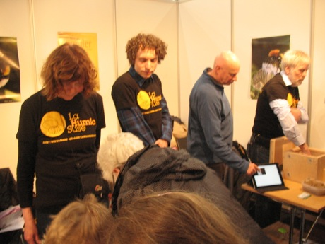 Toril, Adrian, myself and Atle busy answering bumblebee related questions
